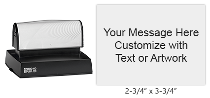"At 2-3/4"" x 3-3/4"", this stamp has 16 lines of customizable text in your choice of 11 ink colors! Long-lasting impressions and use. Orders over $25 ship free!"