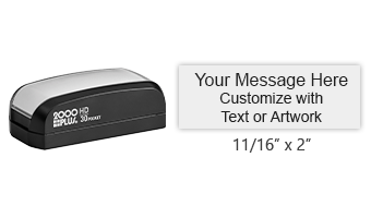 "This stamp is 11/16"" x 2"" and has up to 4 lines of text and a choice of 11 ink colors! Long-lasting impressions and use. Orders over $25 ship free!"