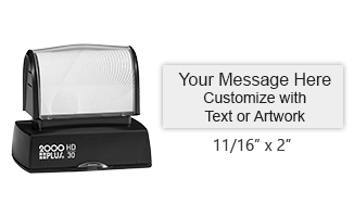 "This 11/16"" x 2"" stamp is personalizable with up to 4 lines of text in your choice of 11 ink colors! Long-lasting impressions and use. Orders over $25 ship free!"