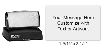 "This 1-9/16"" x 2-1/2"" stamp can be personalized with 9 lines of text in one of 11 ink colors! Long-lasting impressions and use. Orders over $25 ship free!"