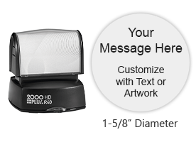 "Personalize your 1-5/8"" stamp with up to 7 lines of text in your choice of 11 ink colors! Long-lasting impressions and use. Orders over $25 ship free!"