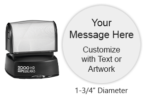 "Customize 8 lines of text on this 1-3/4"" diameter stamp in your choice of 11 ink colors! Long-lasting impressions and use. Orders over $25 ship free!"