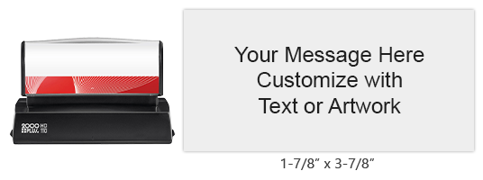"Create a 1-7/8"" x 3-7/8"" quick drying stamp with 11 lines of your text or artwork in one of 3 ink colors! Impressions are lasting. Orders over $45 ship free!"