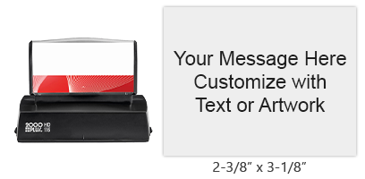 "Customize 14 lines of text or artwork on this 2-3/8"" x 3-1/8"" quick drying stamp in one of 3 ink colors! Impressions are long-lasting. Orders over $15 ship free!"