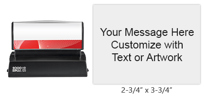 "Order your 2-3/4"" x 3-3/4"" quick drying stamp with 16 lines of text and artwork in one of 3 ink colors! Impressions are lasting. Orders over $15 ship free!"