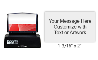 "This 1-3/16"" x 2"" quick drying stamp has 6 lines of custom text or artwork and comes in one of 3 ink colors! Long-lasting impressions. Orders over $45 ship free!"
