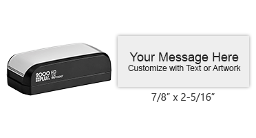 "Create a 7/8"" x 2-5/16"" quick drying stamp with 5 lines of your text or artwork in one of 3 ink colors! Long-lasting impressions. Orders over $15 ship free!"
