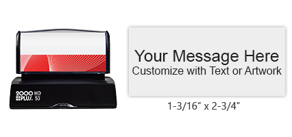 "Personalize this 1-3/16"" x 2-3/4"" quick drying stamp with artwork and 6 lines of text in one of 3 ink colors! Impressions last long. Orders over $15 ship free!"