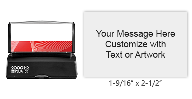 "Add 9 lines of text or artwork in one of 3 ink colors to this 1-9/16"" x 2-1/2"" quick drying stamp! Long-lasting impressions. Orders over $15 ship free!"