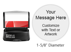 "Create a custom quick drying 1-5/8"" round stamp with 3 lines of text and artwork in one of 3 ink colors! Impressions are long-lasting. Orders over $45 ship free!"