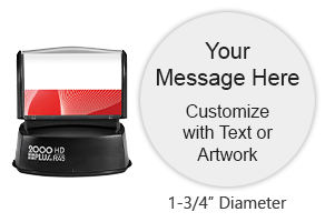 "Personalize a custom quick drying 1-5/8"" round stamp with 3 lines of text and artwork in one of 3 ink colors! Impressions are lasting. Orders over $45 ship free!"