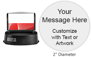 "Customize a quick drying 1-5/8"" round stamp with 3 lines of text and artwork in one of 3 ink colors! Impressions are long-lasting. Orders over $15 ship free!"