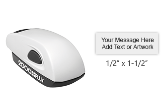 Customize free with text or your logo in your choice of 11 ink colors.  Ships in 1-2 business days and free shipping on orders over $25.  Top quality Cosco white stamp mouse self-inking