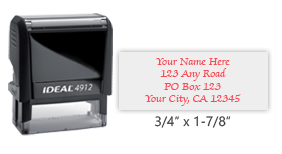 Ideal 4912 return address self-inking stamp in your choice of 11 ink colors. Easy ordering and great customer service. Free shipping on orders over $45.
