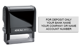 Endorse your checks with a quick and easy bank deposit self-inking Ideal stamp. Customize up to 4 lines of text. Free shipping on orders over $45!