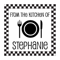 Customize this From The Kitchen Of stamp with your name or company info in your choice of 11 ink colors!  Free shipping on orders over $10!