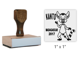 "The 1"" x 1"" Kusafiri Madagascar 2017 Mascot Kanto stamp is approved by the WAGGGS Marketing Department & World Centre Managers. Requires a separate ink pad."