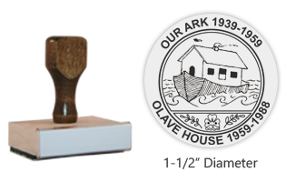 "The 1-1/2"" x 1-1/2"" Our Ark/Olave House stamp is an approved Girl Scout and Girl Guide stamp layout. Separate ink pad required. Free shipping on orders over $45!"