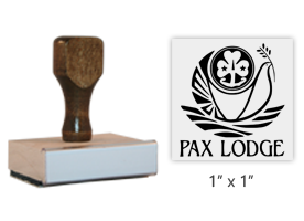 "The 1"" square Pax Lodge logo stamp is approved by the WAGGGS Marketing Dept. & World Centre Managers. Requires a separate ink pad. Orders over $45 ship free!"