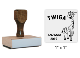 "The 1"" x 1"" Tanzania 2019 Mascot Twiga stamp is approved by the WAGGGS Marketing Department & World Centre Managers. Requires a separate ink pad."