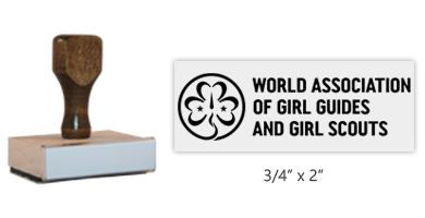 "The 3/4"" x 2"" World Association of Girl Guides and Girl Scouts rectangle stamp is an approved layout. Separate ink pad required. Orders over $45 ship free!"