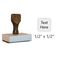 "Customize this 1/2"" square wood rubber stamp with up to 2 lines of text or upload your artwork for free! Separate ink pad required. Free shipping on orders over $25!"