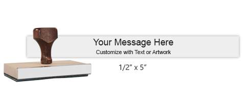 """Customize this 1/2"""" x 5"""" wood rubber stamp w/ up to 2 lines of text/upload your artwork for free! Separate ink pad required. Free shipping on orders over $45!"""