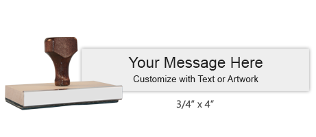 """Customize this 3/4"""" x 4"""" wood rubber stamp with up to 4 lines of text or upload your artwork for free! Separate ink pad required. Free shipping on orders over $10!"""