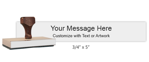 "Customize this 3/4"" x 5"" wood rubber stamp with up to 4 lines of text or upload your artwork for free! Separate ink pad required. Free shipping on orders over $45!"