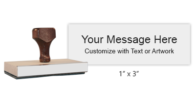 "Customize this 1"" x 3"" wood rubber stamp with up to 6 lines of text or upload your artwork for free! Separate ink pad required. Free shipping on orders over $10!"