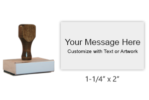 Customize this 1-1/4' x 2' wood rubber stamp with up to 7 lines of text or upload your artwork for free! Separate ink pad required. Free shipping on orders over $25!