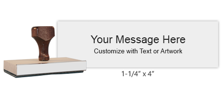 Customize with up to 7 lines of text or artwork! Best for large logos or document stamps. Separate ink pad required. Free shipping on orders over $15!