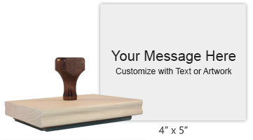 "Customize this 4"" x 5"" rubber stamp with 25 lines of text or your artwork free! Ideal size for logos. Separate ink pad required. Ships in 1-2 business days!"