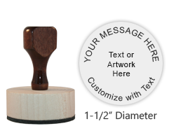 "This 1-1/2"" round stamp is customizable with 6 lines of text or artwork! Use for logos or addresses. Requires a separate ink pad. Ships free in 1-2 business days."