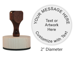 "This 2"" round hand stamp is customizable with 9 lines of text or artwork! Perfect for monograms. Requires a separate ink pad. Ships in 1-2 business days."