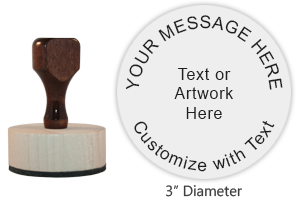 "This 3"" round hand stamp is customizable with up to 9 lines of text or artwork! Perfect size for labels! Ink pad sold separately. Ships free in 1-2 business days."