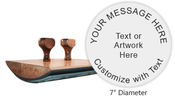 "Create a custom round 7"" wood stamp with 9 lines of text or your artwork and use with a separate ink pad. Mainly used for logos. Ships free in 1-2 business days."
