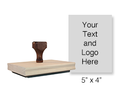 "Customize this 5"" x 4"" rubber stamp with 25 lines of text or your artwork free! Ideal size for logos. Separate ink pad required. Ships in 1-2 business days!"
