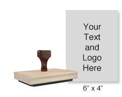 "Customize this 6"" x 4"" stamp with 25 lines of text or your artwork! Used for logos or form stamps. Separate ink pad required. Ships in 1-2 business days!"