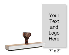 "Customize this 7"" x 3"" wood rubber stamp with up to 25 lines of text or upload your artwork for free! Separate ink pad required. Ships in 1-2 business days!"