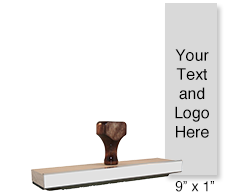 "This 9"" x 1 wood hand stamp is customizable with 25 lines of text or artwork free! Great for labels. Separate ink pad required. Orders over $45 ship free!"