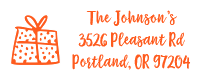 Give the gift of holiday cards with this custom present holiday address stamp in one of 11 ink colors and two stamp types! Orders over $15 ship free!