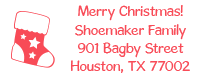 Address your holiday cards with this custom stocking holiday address stamp in your choice of 11 ink colors and two stamp types! Orders over $15 ship free!