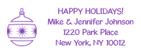 Personalize your holiday cards with this custom ball ornament holiday address stamp in one of 11 ink colors and two stamp types! Orders over $15 ship free!
