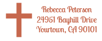 Make great personalized holiday cards with this custom cross holiday address stamp in one of 11 ink colors and two stamp types! Orders over $15 ship free!