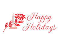 Personalize your holiday cards using our self-inking Happy Holidays stamp w/ candlestick wrapped in poinsettia. 11 ink color opts. Order over $45 ship free!