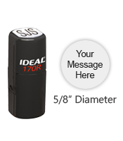 "Customize this 5/8"" diameter stamp for free with your text or small logo in your choice of 11 ink colors. Ships free in 1-2 business days."