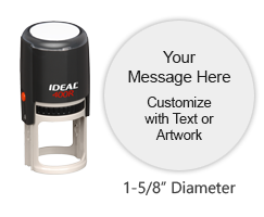 "This high quality 1-5/8"" diameter stamp impression can be customized with text or your logo in your choice of 11 ink colors. Ships free in 1-2 business days."