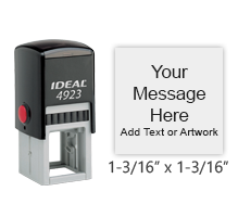 "This high quality 1-3/16"" x 1-3/16"" self-inking stamp allows for free customization in your choice of 11 vibrant ink colors. Ships free in 1-2 business days."
