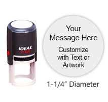 Customize free with text or your logo in your choice of 11 ink colors. Top quality Ideal 310R round self-inking stamp. Orders ship free over $45.